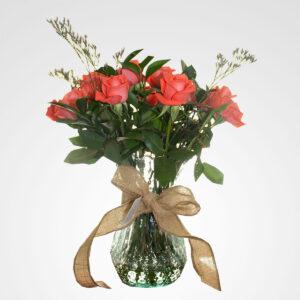 arreglo florero rosas rosadas amor divino