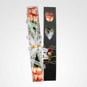 caja de rosas flor de encaje floristeria bogota
