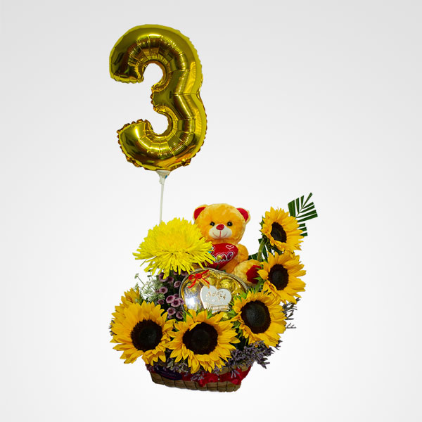 arreglo de girasoles peluche globo numero flores premium