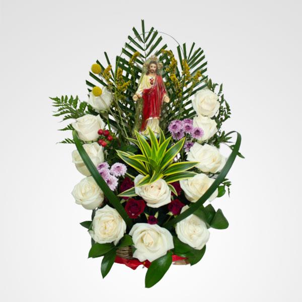 arreglo religioso sagrado corazon de jesus floreria bogota