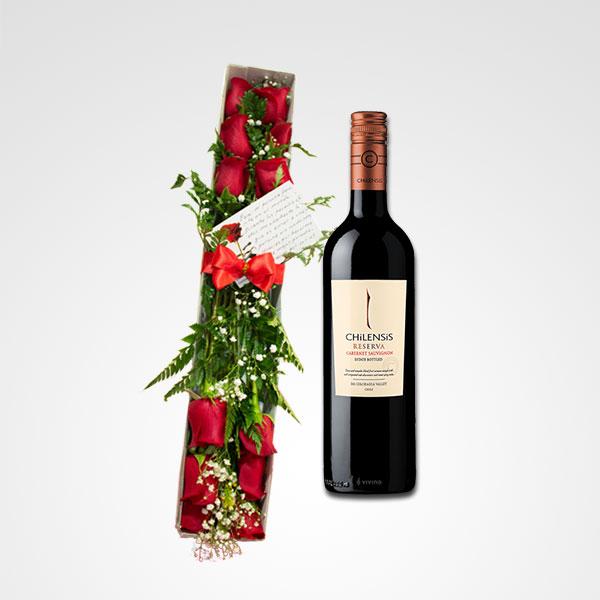 caja de rosas rojas botella de vino chilensis reserva floreria bogota