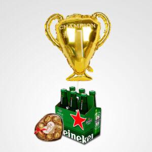 globo trofeo cervezas heineken chocolates arreglo para hombre