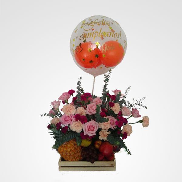 arreglo de frutas globo personalizado floreria bogota