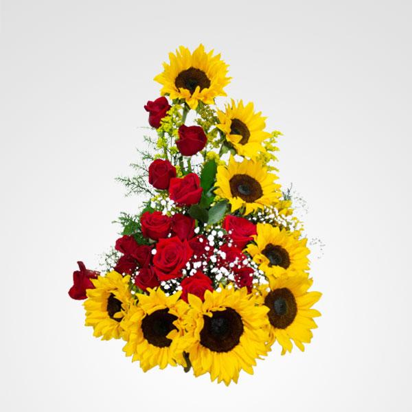 arreglo de rosas rojas y girasoles floristeria bogota