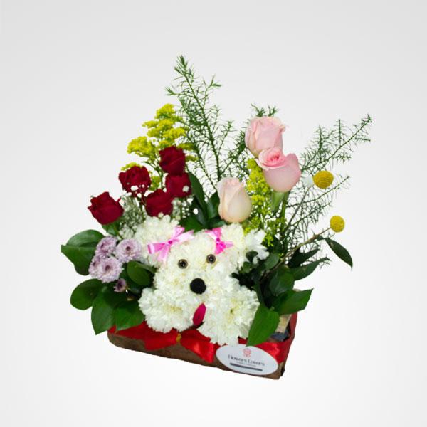 arreglo floral 3D perro poodle floreria bogota