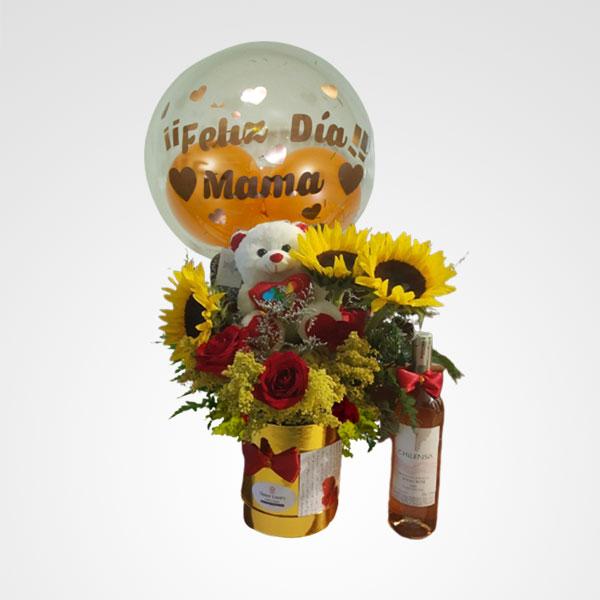 arreglo de flores peluche y vino mama consentida floreria bogota