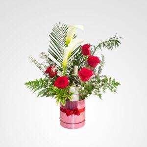 arreglo gran ilusion cartuchos rosas vino rosado floreria bogota